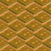 Grass And Soil Tile With Layers Isometric Vector Pattern. Dry Autumn Withered Grass With Fallen Leav poster