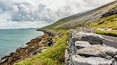 Beautiful Irish Landscape With The Sea And The Rural Coastal Road Along​​ The Burren, Geosite And Ge poster