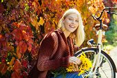 Autumn Woman In Autumn Park With Red Pullover. Beautiful Autumn Woman With Autumn Leaves On Fall Nat poster