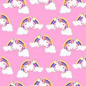 Cute Unicorns And Rainbows Pink Seamless Pattern. Fairytale Pony Child Characters Light Vector Backg poster