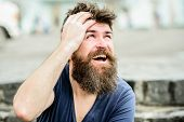 Bearded Man Outdoor. Male Fashion And Beauty. Brutal Male With Perfect Style. Bearded Man With Lush  poster