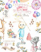 Watercolor Isolated Cute Watercolor Bunny Clipart. Nursery Rabbit Illustration. Baby Poster. Trendy  poster