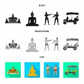 Isolated Object Of Journey And Exotic Icon. Collection Of Journey And National Stock Vector Illustra poster