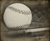 Retro Vintage Grungle Stlye Image Of Baseball And Glove With Aged Effects