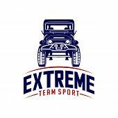 Off-road Car Logo Design Vector. Off-road Extreme Car Club Logo Templates. Vector Symbols poster