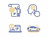 Select User, Online Help And Settings Blueprint Icons Simple Set. Car Sign. Head With Checkbox, Web  poster