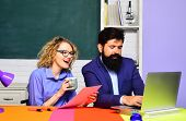 Funny Students Couple Studying In University. Young Male Teacher With Female Student. College Studen poster