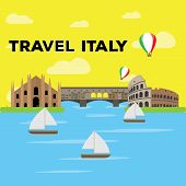 Colored Landscape With Famous Places In Italy. Travel To Italy - Vector poster