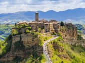 Stunning View Of Civita Di Bagnoregio, Ghost Mediaeval Town Built Above A Plateau Of Friable Vulcani poster