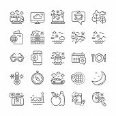 Travel Line Icons. Passport, Check In Airport, Luggage Icons. Airplane Flight, Sunglasses, Hotel Bui poster