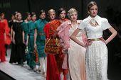 ZAGREB, CROATIA - MARCH 16: Fashion models wear clothes made by Aleksandra Dojcinovic on