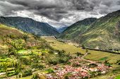 Aerial Landscape Panoramic View To Urubamba River And Sacred Valley From Taray Viewpoint Near Pisac  poster
