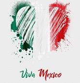 Viva Mexico. Mexican Independence Day Background With Grunge Heart In Flag Colors. Concept For Indep poster