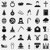 Christianity Icons Set. Simple Style Of 36 Christianity Icons For Web For Any Design poster