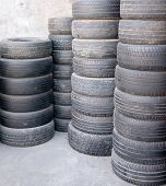 Stacks Of Used Car Tires