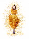 Classy Graceful Shiny Woman In Trendy Modern Yellow Vernal Dress