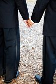 Closeup view of interracial gay couple getting married in tuxedos and holding hands.  Wedding band i