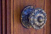 Aldaba marrón bronce y madera de la puerta