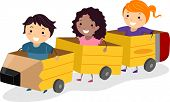 stock photo of playmates  - Illustration of Kids Riding Pencil Shaped Carriages Made from Cardboard - JPG