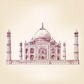 Taj Mahal, India vector illustration