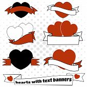 Hearts and text banners