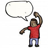 cartoon man raising hand