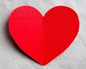 red heart on the background of kraft paper  for a Valentine's day