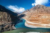 stock photo of plateau  - Confluence of Zanskar and Indus rivers  - JPG