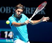 MELBOURNE - JANUARY 15: Roger federer of Switzerland in his first round win over Benoit Paire of Fra