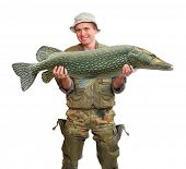 image of musky  - The fisherman with big fish  - JPG