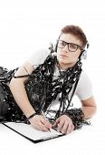 stock photo of adversity humor  - Image of a young man wrapped in tape - JPG