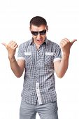Impudent Young Man In Sunglasses Hands Make Thumbs Up Isolated On White Background