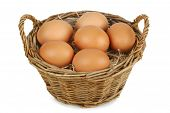 Wicker Basket With Eggs