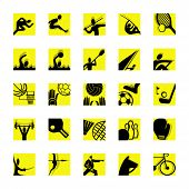 sport icon set black and yellow