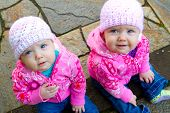 Twin Girls In Pink