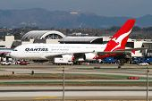 LOS ANGELES, CA - OCTOBER 23: A Qantas Airways A380 taxis at Los Angeles International Airport (LAX) in Los Angeles, CA on October 23, 2012. The A380 is the worlds largest passenger jet.