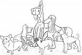 Grupo de perros de pura raza dibujos animados para colorear