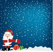 Santa Under Snow Sky