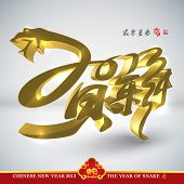 Vector Golden Snake, Chinese New Year 2013, Translation: New Year Celebration 2013