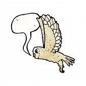 pic of screech-owl  - cartoon owl with speech bubble - JPG
