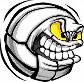 pic of volleyball  - Vector Cartoon Volleyball Ball with Mean Face - JPG