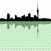 Auckland Skyline With Dollars