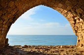 image of crusader  - view of Mediterranean sea from window in Crusaders fortress in Israel - JPG