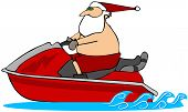image of waverunner  - This illustration depicts Santa riding a red wave runner - JPG
