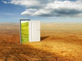 stock photo of open door  - An open door revealing a different dimension - JPG