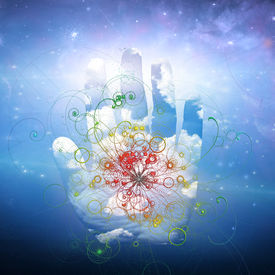 pic of higgs boson  - Open hand and particle design - JPG
