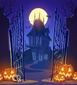 Spooky old ghost house. Halloween card\poster. Vector illustration.