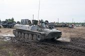 BORNE SULIMOWO, POLAND - AUGUST 16: Driving on a military range during