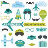 Airplane Party set - photobooth props - glasses, hats, planes, mustaches, masks - in vector