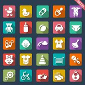 stock photo of nipple  - Baby icon set - JPG